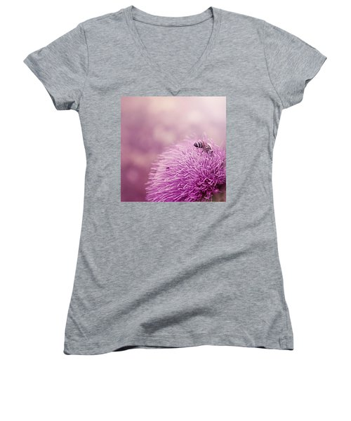 Beauty And The Bee Women's V-Neck T-Shirt (Junior Cut) by Trish Mistric