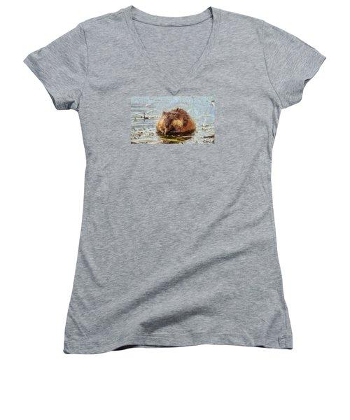 Beaver Portrait On Canvas Women's V-Neck T-Shirt (Junior Cut) by Dan Sproul