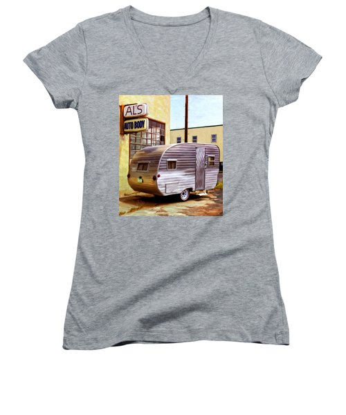 Becky's Vintage Travel Trailer Women's V-Neck T-Shirt (Junior Cut) by Michael Pickett