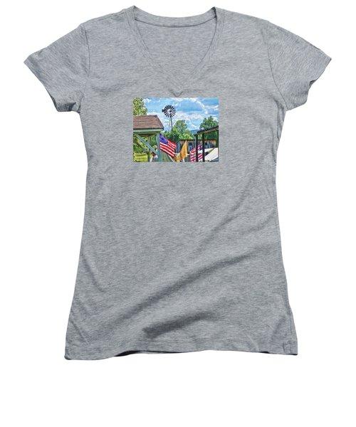 Bedford Village Pennsylvania Women's V-Neck T-Shirt (Junior Cut) by Kathy Churchman