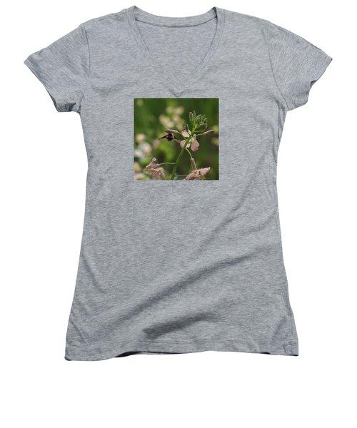 Pink Mustard Flower Women's V-Neck T-Shirt (Junior Cut) by Adria Trail