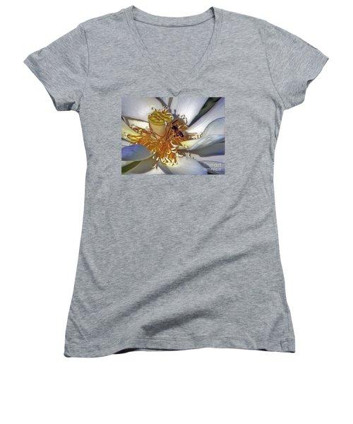 Bee On Lotus Women's V-Neck T-Shirt (Junior Cut) by Savannah Gibbs