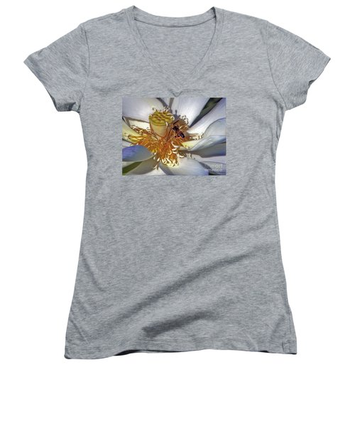 Bee On Lotus Women's V-Neck (Athletic Fit)