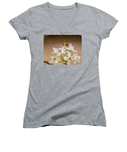 Bee Working The Bradford Pear 4 Women's V-Neck T-Shirt