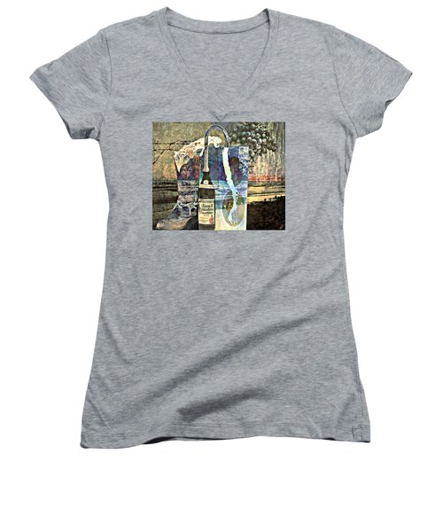 Women's V-Neck T-Shirt (Junior Cut) featuring the mixed media Beer On Tap by Ally  White