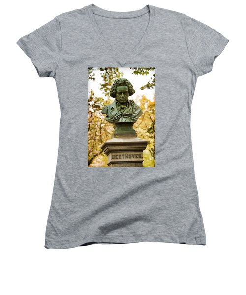 Beethoven In Central Park Women's V-Neck T-Shirt (Junior Cut) by Alice Gipson