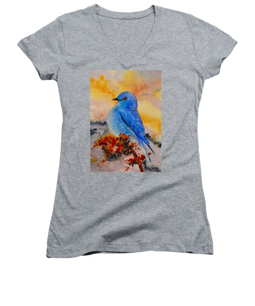 Women's V-Neck T-Shirt (Junior Cut) featuring the painting Before The Song by Beverley Harper Tinsley