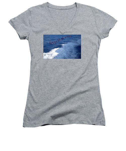 Women's V-Neck T-Shirt (Junior Cut) featuring the photograph Believe by Aimee L Maher Photography and Art Visit ALMGallerydotcom
