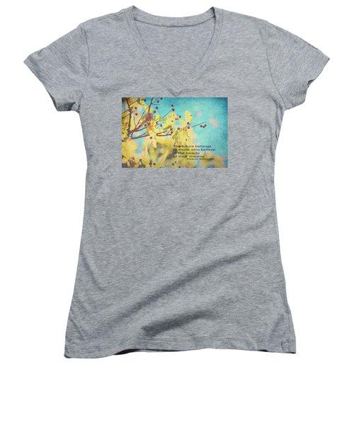 Believe In Dreams Women's V-Neck T-Shirt (Junior Cut) by Toni Hopper