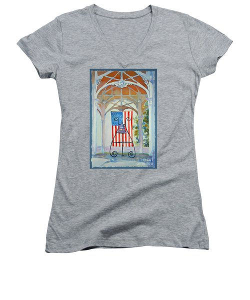 Women's V-Neck T-Shirt (Junior Cut) featuring the painting Bell And Flag by Mary Haley-Rocks