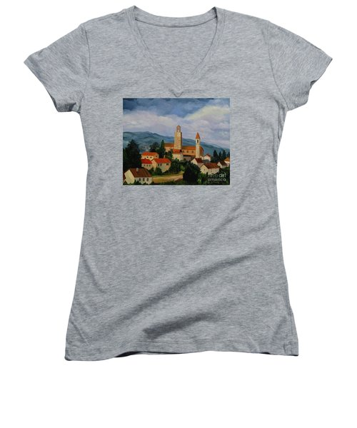 Women's V-Neck T-Shirt (Junior Cut) featuring the painting Bell Tower Of Vinci by Julie Brugh Riffey