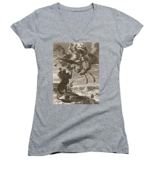 Bellerophon Fights The Chimaera, 1731 Women's V-Neck T-Shirt (Junior Cut)