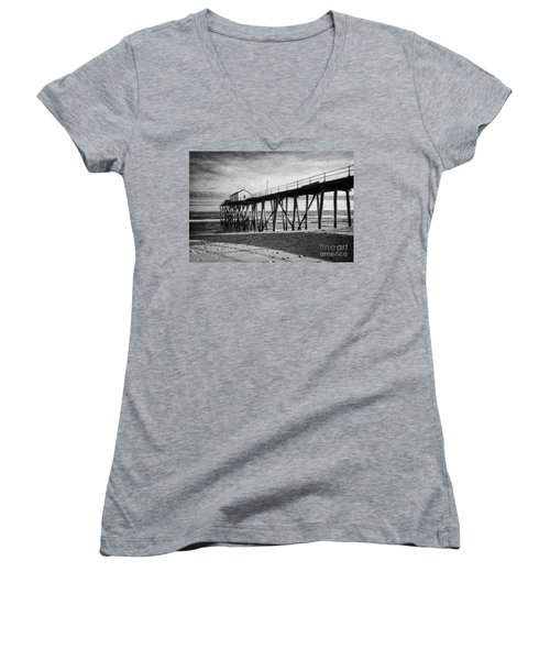 Women's V-Neck T-Shirt (Junior Cut) featuring the photograph Belmar Fishing Pier In Black And White by Debra Fedchin