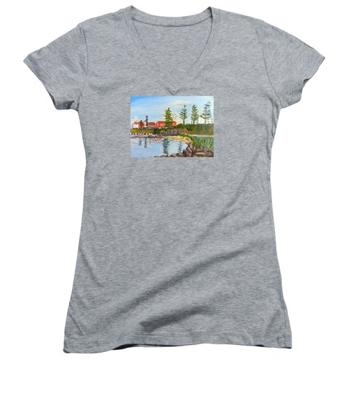 Belmore Basin From The North Sea Wall Women's V-Neck T-Shirt (Junior Cut) by Pamela  Meredith