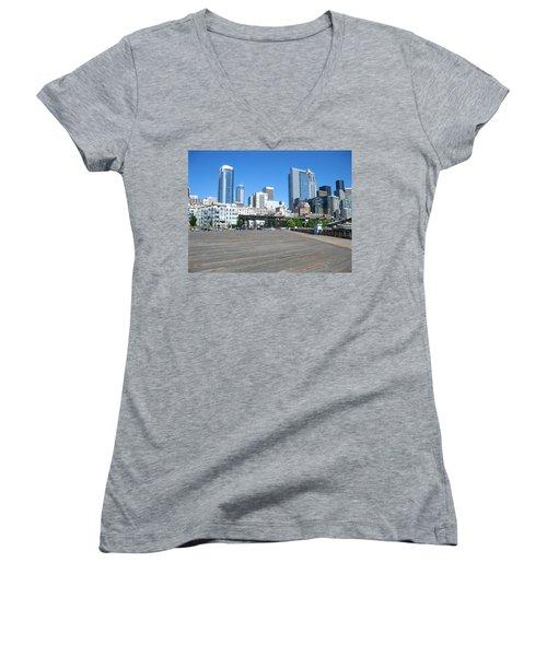 Below The Line Women's V-Neck T-Shirt (Junior Cut) by David Trotter