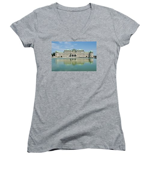 Women's V-Neck T-Shirt (Junior Cut) featuring the photograph Belvedere Palace by Jeremy Voisey