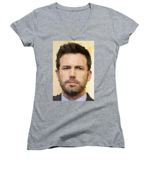 Ben Affleck Portrait Women's V-Neck T-Shirt (Junior Cut) by Samuel Majcen
