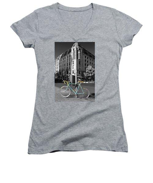Berlin Street View With Bianchi Bike Women's V-Neck T-Shirt