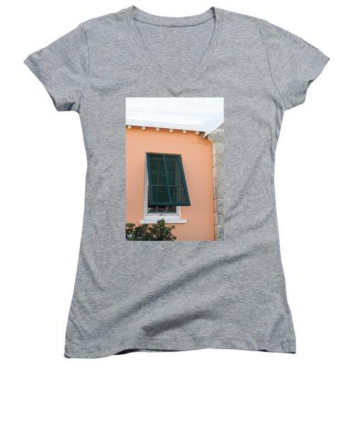 Bermuda Shutters Women's V-Neck T-Shirt (Junior Cut) by Ian  MacDonald