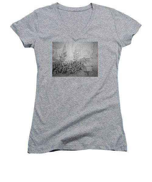 Women's V-Neck T-Shirt (Junior Cut) featuring the drawing Bernheim Forest Plant by Stacy C Bottoms