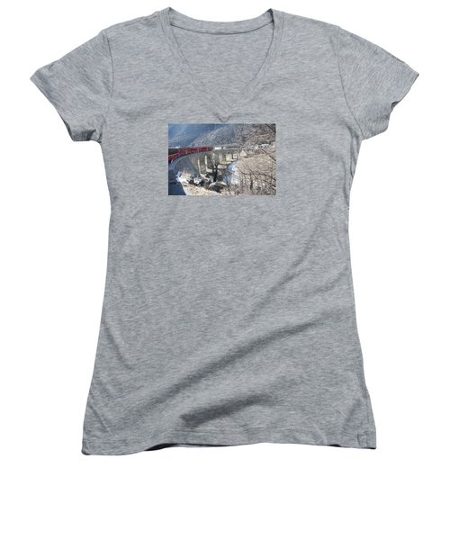 Women's V-Neck T-Shirt (Junior Cut) featuring the photograph Bernina Express In Winter by Travel Pics