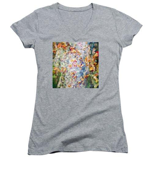 Berries Around The Tree - Abstract Art Women's V-Neck T-Shirt (Junior Cut) by Kerri Farley