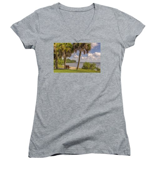 Women's V-Neck T-Shirt (Junior Cut) featuring the photograph Beside The Shore by Jane Luxton