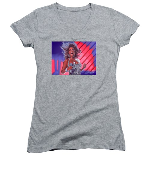 Beyonce Women's V-Neck T-Shirt (Junior Cut) by Paul Meijering