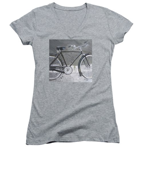 Bicycle In Rome Women's V-Neck T-Shirt (Junior Cut) by Claudia Goodell