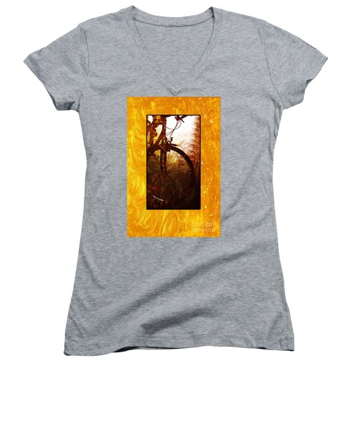 Women's V-Neck T-Shirt (Junior Cut) featuring the photograph Bicycle  by Randi Grace Nilsberg