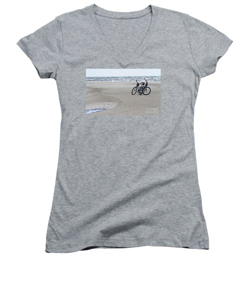 Bicycles On The Beach Women's V-Neck T-Shirt
