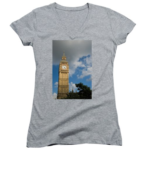 Women's V-Neck T-Shirt (Junior Cut) featuring the photograph Big Ben by Jeremy Voisey