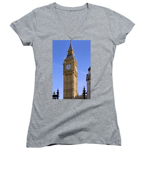Women's V-Neck T-Shirt (Junior Cut) featuring the photograph Big Ben by Stephen Anderson