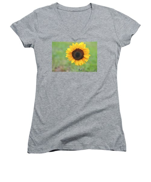 Big Bright Yellow Colorful Sunflower Art Print Women's V-Neck