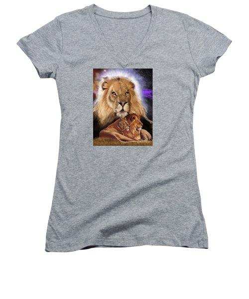 Third In The Big Cat Series - Lion Women's V-Neck T-Shirt (Junior Cut) by Thomas J Herring