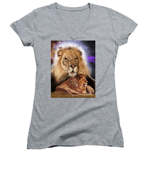 Third In The Big Cat Series - Lion Women's V-Neck