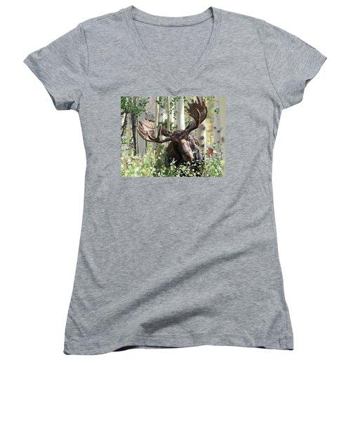 Big Daddy The Moose 3 Women's V-Neck T-Shirt
