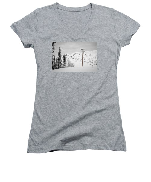Women's V-Neck featuring the photograph Big Horn Sheep Hinton Hillside by Roxy Hurtubise