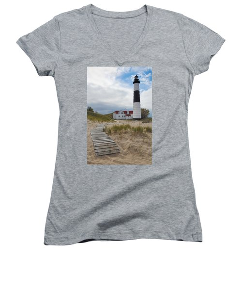Big Sable Point Lighthouse Women's V-Neck T-Shirt