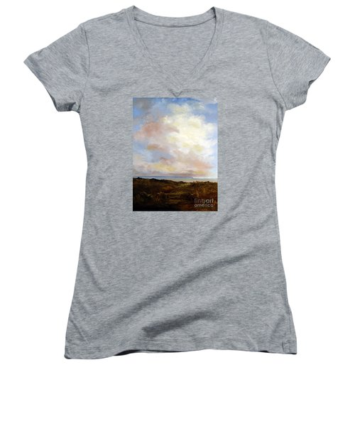 Big Sky Country Women's V-Neck T-Shirt (Junior Cut) by Lee Piper
