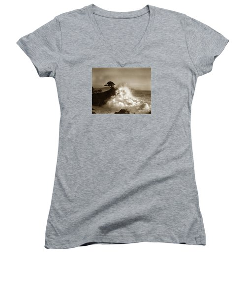 Big Wave Hitting The Lone Cypress Tree Pebble Beach California 1916 Women's V-Neck T-Shirt (Junior Cut) by California Views Mr Pat Hathaway Archives
