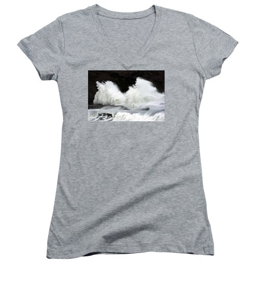 Big Waves Breaking On Breakwater Women's V-Neck