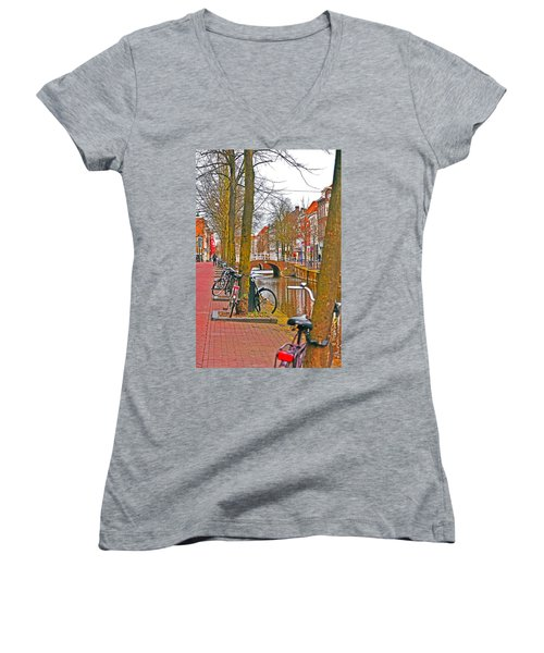 Bikes And Canals Women's V-Neck T-Shirt