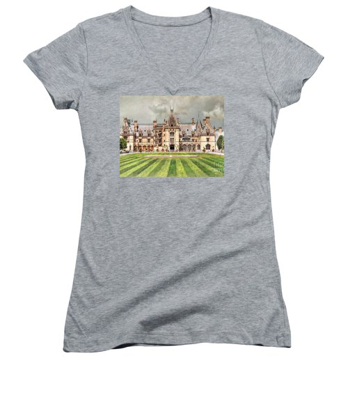 Biltmore House Women's V-Neck T-Shirt (Junior Cut) by Savannah Gibbs