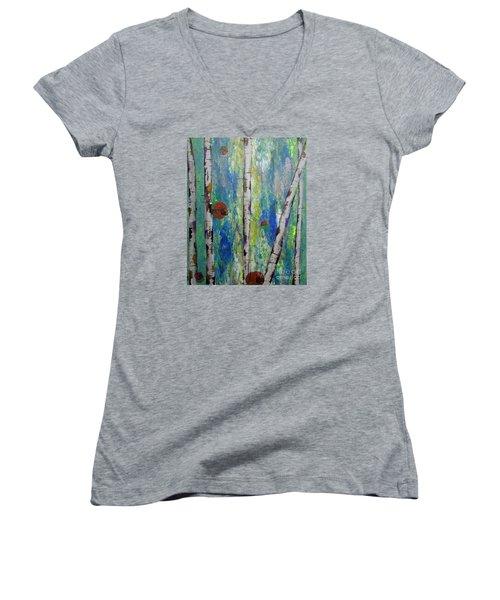 Birch - Lt. Green 4 Women's V-Neck T-Shirt (Junior Cut) by Jacqueline Athmann