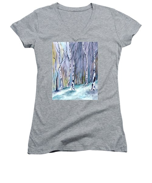 Birches In The Forest Women's V-Neck T-Shirt