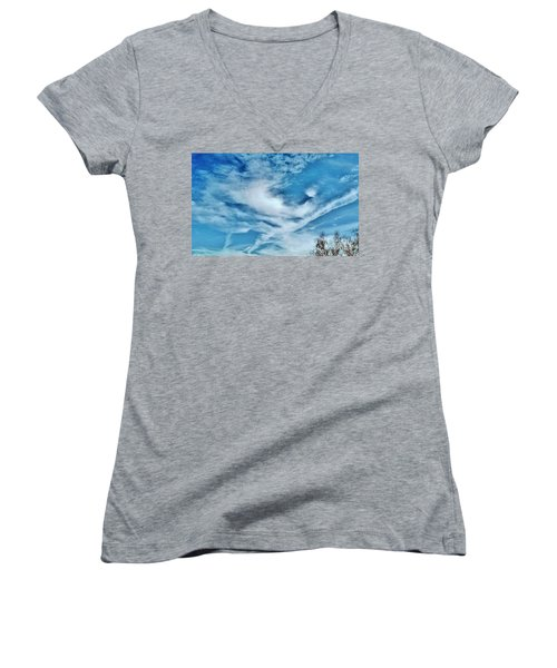 Bird Cloud Soaring By Women's V-Neck (Athletic Fit)