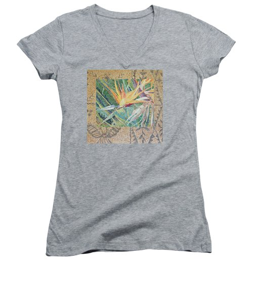 Bird Of Paradise With Tapa Cloth Women's V-Neck T-Shirt