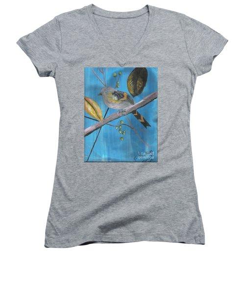 Bird On A Branch  Women's V-Neck T-Shirt (Junior Cut)