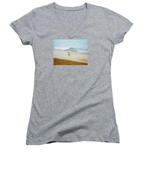 Bird On The Beach Women's V-Neck T-Shirt (Junior Cut) by Milena Ilieva